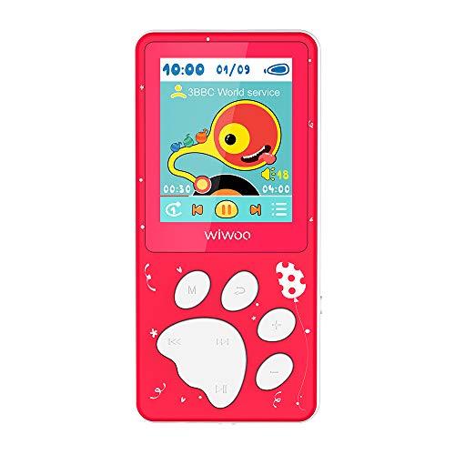 WiwooMP3Player/MP4Player,KidsMP3PlayerwithFMRadio/Video/Photo/VoiceRecorder,1.8InchTFTScreenMP3MusicPlayerExpandableUpto128GB,Red