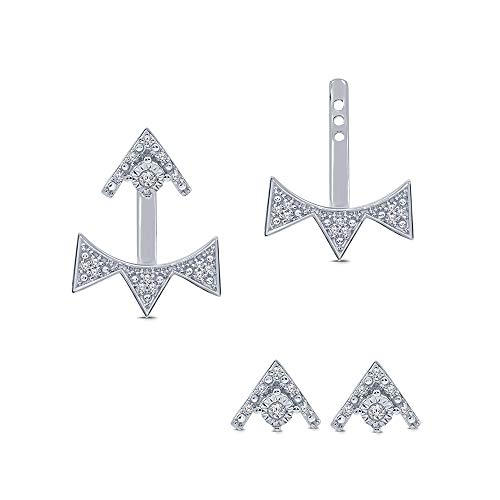 (1/10 ct Round White Natural Diamond Sterling Silver Fancy Drop Triangle Earring Jacket Stud Diamond Earrings For Women)