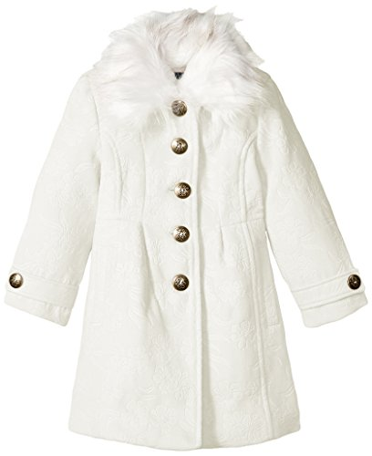 Jessica Simpson Little Girls' Dress Coat Jacket with Cozy Collar, Cream, 5