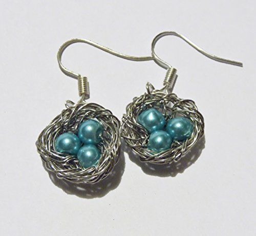 Earrings - Dangle, Wire Wrapped Bird Nest with 3 Robin Blue Pearl (Robins Egg Blue Pearls)
