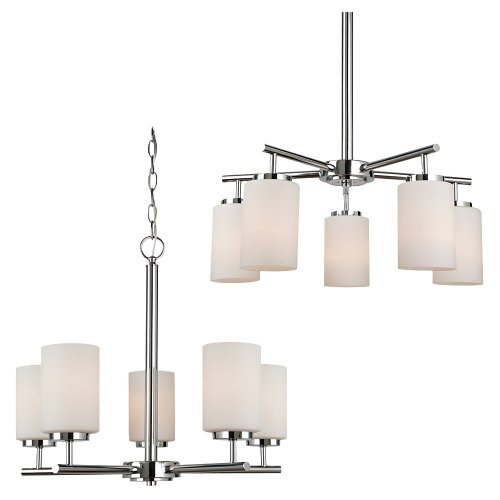 Sea Gull Lighting 31161BLE-05 Oslo 5-Light Chandelier, Chrome Finish with Cased Opal Etched Glass