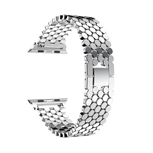 YJYdada Stainless Steel Smart Watch Band Replacement Strap For Apple Watch Series 3 38MM (Silver) Photo #3