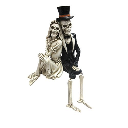 Pacific Giftware Day of The Dead Skeleton Wedding Couple Shelf Sitter Figurine 8 inch -