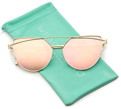 WearMe Pro - Elegant Street Fashion Metal Frame Women Mirror Cat Eye - Mirrored Cute Sunglasses