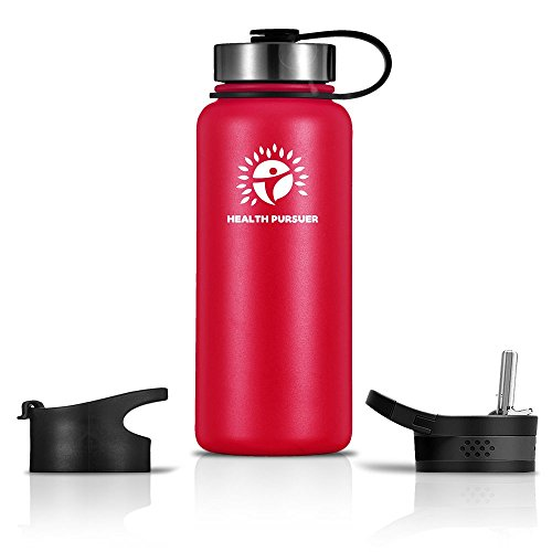 Stainless Steel Water Bottle/Thermos: ​40 Oz.​ Double Walled Vacuum Insulated Wide Mouth Travel Tumbler, Reusable BPA Free Twist Lid Bottles for Hot or Cold Liquid: Bonus Flip & Straw Lids - ​Red