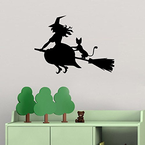 Halloween Vinyl Wall Decals Witch on the Broom and Cat Halloween Fly Spells Decor Stickers Vinyl Mural MK6038 ()