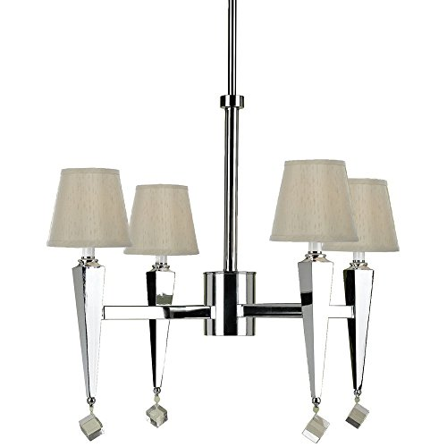 AF Lighting 6680-4H Margo 4-Light Chandelier- Cream Shades - Candice Chrome Chandelier