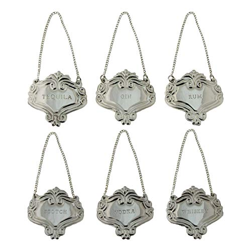 - Silver Engraved Fancy Floral Decanter Labels Liquor Bottle Label Tag Set/6 Tags