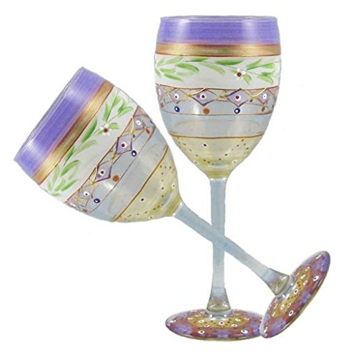 (Golden Hill Studio Wine Glasses Hand Painted in the USA by American Artists-Set of 2-Mosaic Garland Collection)