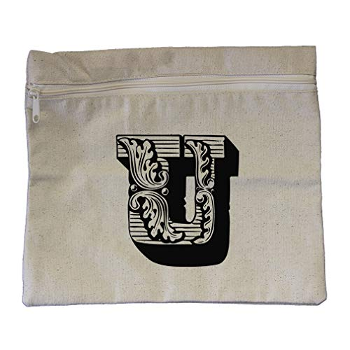 ''U'' Vintage Antique Monogram Letter U Cotton Canvas Zippered Pouch 12''x10'' by Style In Print