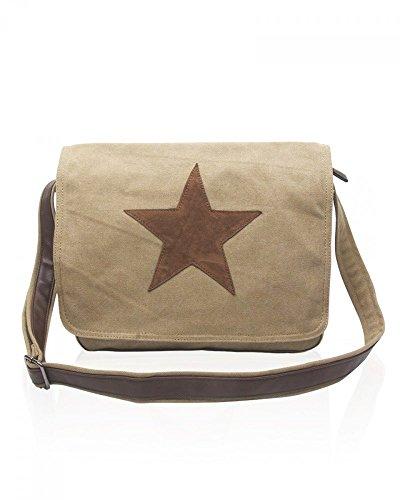 Damen Canvas Tasche Klein / Mittel Größe Messenger Taschen Damen mode Designer Star Handtasche Schule College legerem Chic CWRX160161 CWRX160162 (Mittel Groß-Taupe)