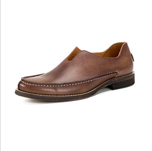 Hecho A Pedal Lazy Casual Hombres Mano De Un Trendy Individuales Zapatos Zapatos Retro Coffe Cuero Fxa4Zwq4