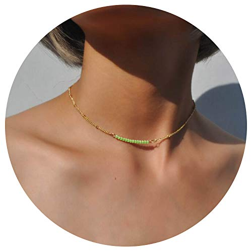 (So Pretty Dainty Bead Gold Choker Necklace for Women Green Beaded Chain Layering Necklace)