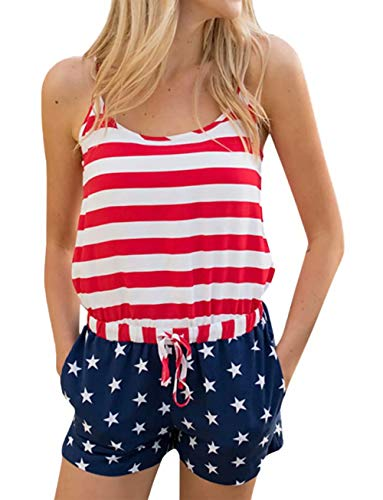 (Women's Patriotic American Flag Romper Stars Stripes Print Lace-up Playsuit Summer Short Jumpsuit Size XL (Red))