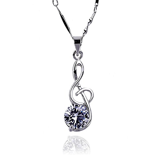 NickAngelo's G Clef Music Note Pendant Necklace 18K White Gold Plated Elegant Fashion Jewelry (white-gold-plated-copper, cubic-zirconia) - Gold Plated Music Fashion Jewelry