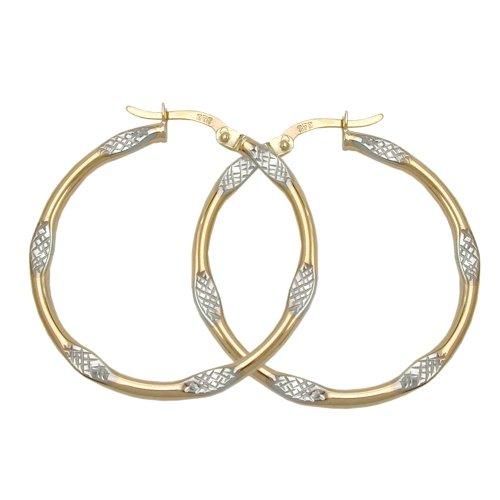 Creole, bicolor, diamantiert, 9Kt GOLD