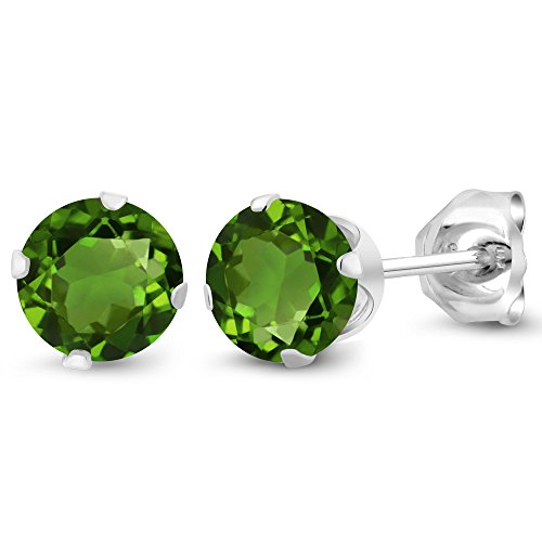 - Gem Stone King 1.00 Ct Round 5mm Green Chrome Diopside Sterling Silver Stud Women's Earrings