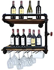 Industrial Wall Mounted Wine Racks with 4 Stem Glass Holder,24in Rustic Metal Hanging Wine Holder Glass Rack,2-Tiers Floating Bar Shelves Bottle Holder Storage Shelves,Wood Shelves Wall Shelf
