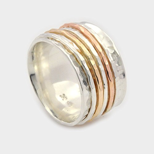 Sterling silver and gold filled ring hammered Spinner band size 5.5 to 10 (Spinning Silver Ring Sterling Spin)