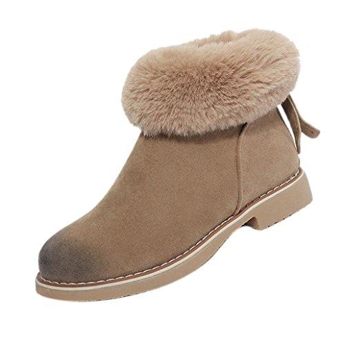 Stivali Invernali Donna Amiley Neve Accogliente Stivaletti Alla Caviglia Cerniere Scarpe Calde Stivali Kakhi