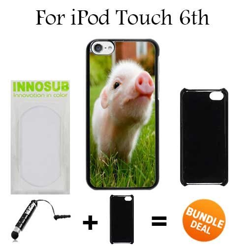 Cute Piglett Baby Pig Custom iPod 6/6th Generation Cases-Black-Plastic,Bundle 2in1 Comes with Custom Case/Universal Stylus Pen by innosub