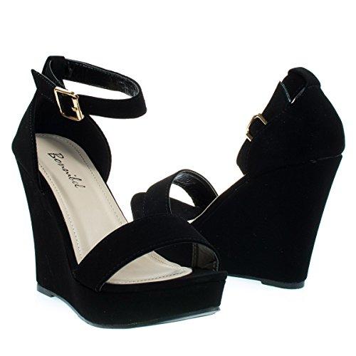 Bonnibel Paige-1 Piattaforma Open Toe Classica Sandalo Con Zeppa Sandalo Con Cinturino Alla Caviglia E Tallone Da Tallone Blacknb