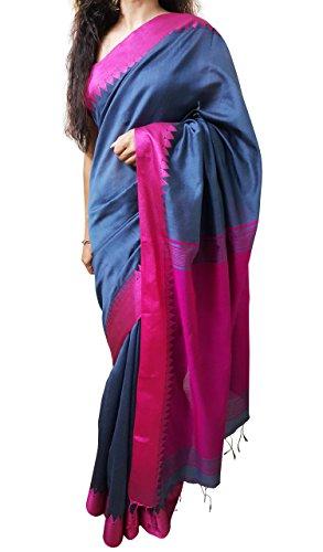 Mehrunnisa Handloom BAHA Sarees with Blouse Piece from Kolkata (Grey & Magenta)