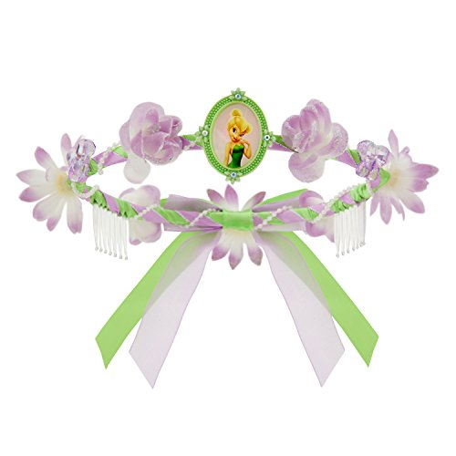 [Disney Floral Tinker Bell Tiara, Purple and Green] (Tinker Bell Child Tiara)