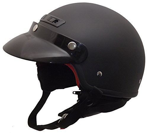 Core Helmets Deluxe Half Helmet (Flat Black, Medium)