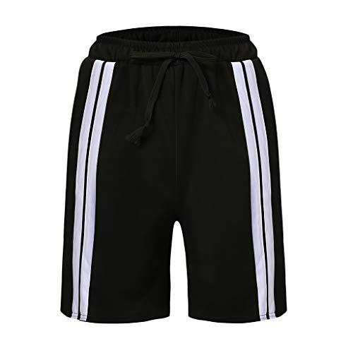 Men's Training Designed 2 Stripes Short Lightweight Quick Dry Drawstring Running Shorts Black ()