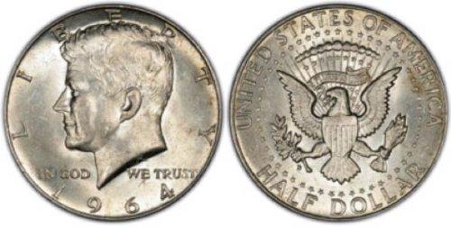 1964 - Silver Kennedy Half Dollar Uncirculated US Mint