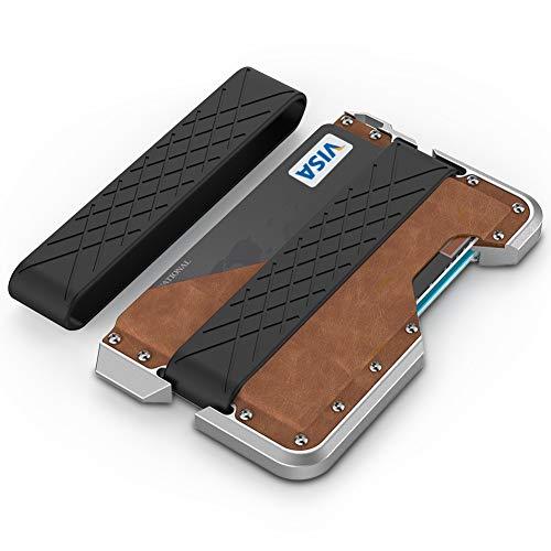 Metal Wallet for Men, Tearcam Metal Money Clip Minimalist Front Pocket Secured Wallet Leather RFID Blocking Credit Card Holder, Aluminum Travel Card -