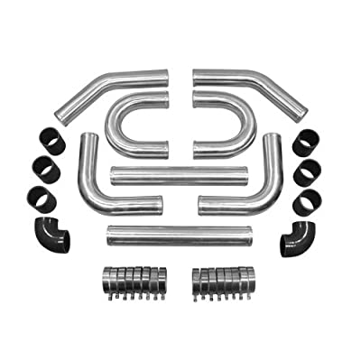 "2.5"" UNIVERSAL TURBO INTERCOOLER PIPING KIT + BLACK HOSES 2U Shape: Automotive"