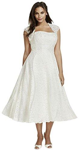 Thé Longueur De Mariée De David Taille Plus Robe De Mariée Avec Style Haussant Les Épaules 9t9948 Blanc