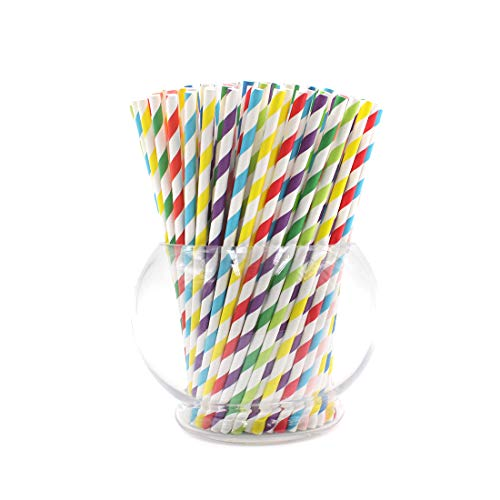 Paper Drink Straws Biodegradable Rainbow- 100 Pcs for Bachelorette Party Supplies, Eco-frendly Straws Bulk with 8 Different Colors for Birthday | Wedding | Bridal | Baby Shower | DIY Idea]()