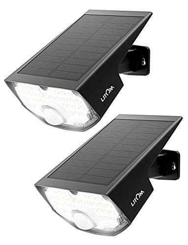LITOM Solar Lights 14.4 in² Solar Panel Adjustable Installation Angle 3 Optional Modes Sensitive PIR Motion Sensor Light with Wide Angle IP65 Waterproof-2 Pack