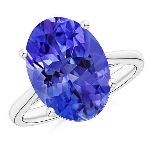 December Birthstone - Classic Prong Set Solitaire Oval Tanzanite Cocktail Ring for Women in Platinum (14x10mm (Oval Tanzanite Platinum Ring)