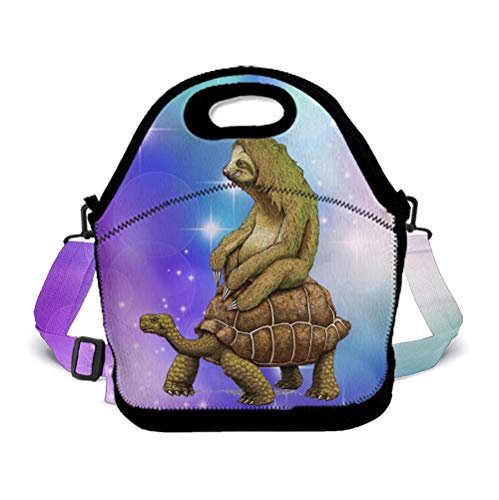 OKAYDECOR Sloth Ride Sea Turtle Lunch Bag Insulated Tote Handbag Lunchbox Food Container Gourmet Tote Cooler Warm Pouch with Shoulder Strap for Women Teens Girls Kids Students -