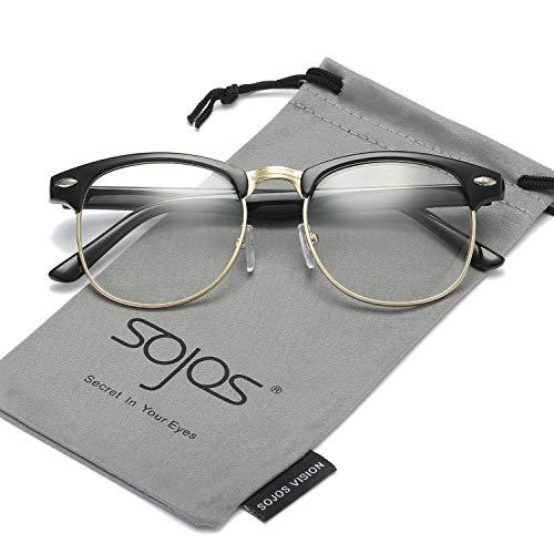 n-rimmed Semi Rimless Polarized Sunglasses SJ5018 with Bright Black Frame/Gold Rim ()