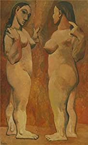 'Two Nudes-Pablo Picasso,1906' oil painting, 18x30 inch / 46x75 cm ,printed on Linen Canvas ,this High Definition Art Decorative Prints on Canvas is perfectly suitalbe for Nursery decoration and Home decor and Gifts