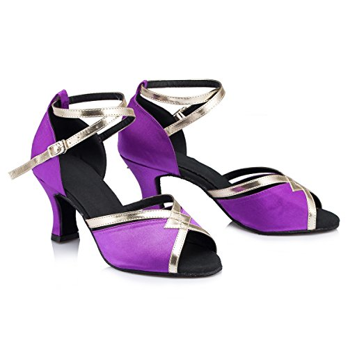 Miyoopark Femmes Peep Toe Satin Salsa Performance Chaussures De Danse Latine Élégant Mariage Sandales De Bal Violet-7cm Talon