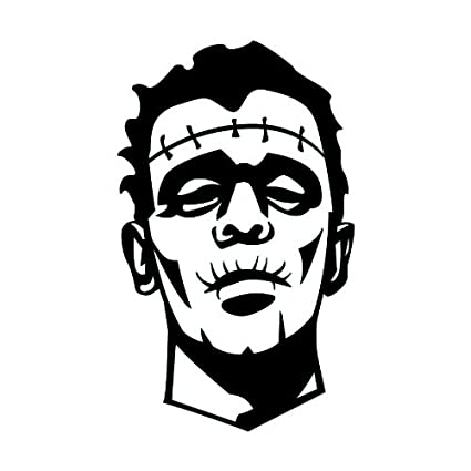 2quot Inches Black Scary Silhouette Of Frankenstein Halloween Design Vinyl Decal Sticker Twin Pack 2