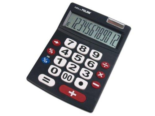 [해외]밀란 12 자리 계산기 빅 키 151712BL 블랙 / Milan 12-digit calculator big key 151712BL Black