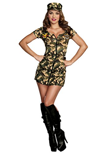 Sexy Army Babe Camo Zip Front Uniform Dress Outfit Military Costume Adult Women (Military Halloween Costumes For Womens)