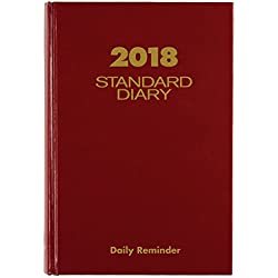 """AT-A-GLANCE Standard Diary, January 2018 - December 2018, 5-3/4"""" x 8-5/16"""", Medium, Daily Reminder, Red (SD38913)"""