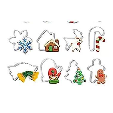 Christmas Cookie Cutter Set - 12 Piece Cutters Molds Include Snowflake, Reindeer, Gingerbread Men, Christmas Tree, Snowman, Santa ect