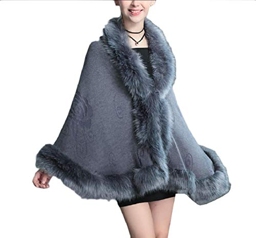 Grigio Wrap Poncho Scialle Fur Cable Rkbaoye Elegent Collo Coat Knit Women Caftano wPgz1Oq