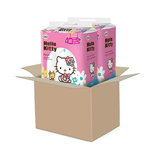Hello Kitty toilet paper flower 100 % wood pulp 4-ply 48 Rolls (Two Packs of 24 Rolls)