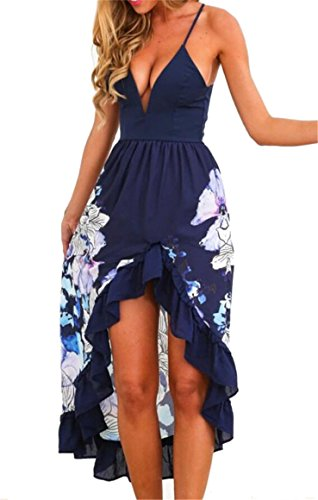 Floral s Summer Neck Deep Maxi 1 Jaycargogo Women Dress Sleeveless V Asymmetrical US8wT5q