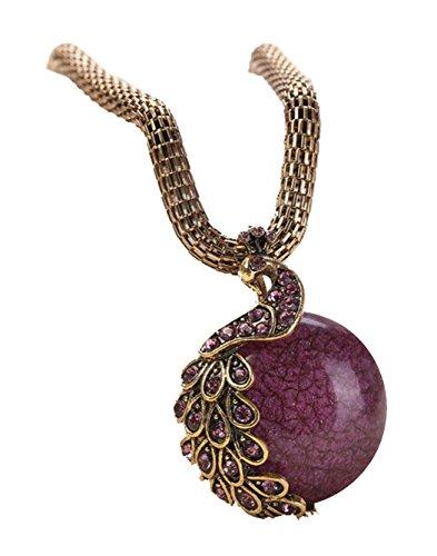 Desklets Women Retro Craft Antique Peacock Tail Single Marbles Pendant Necklace(Purple)